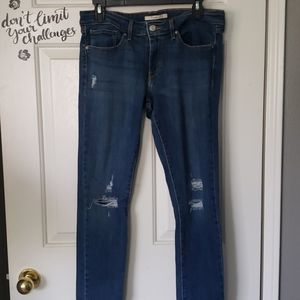 Levi's 711 Skinny Ripped Jeans